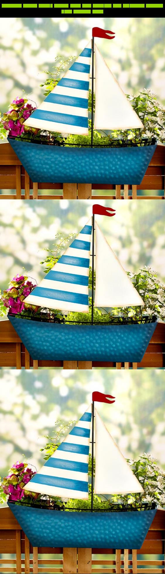Sailboat decor front porch deck rail planter box outdoor flower herb