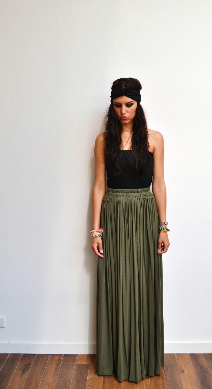 khaki skirt maxi skirt high waist long green jersey hippie skirt skirt long winter or summer