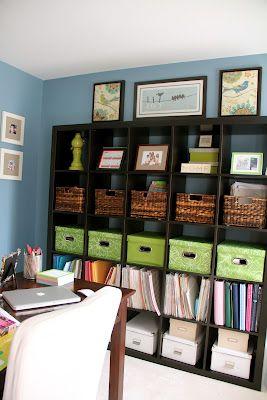 Home office organization using Ikea bookshelf + boxes, bins  baskets. / Bureau à domicile organisé avec étagère Ikea + paniers, bacs et boîtes de rangement