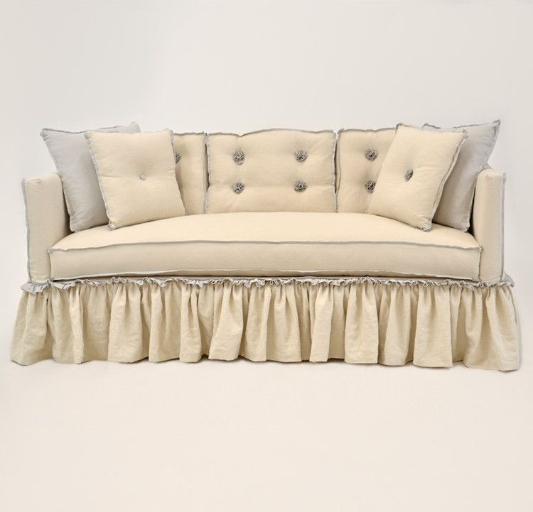 quatrine furniture. Quatrine Custom Furniture - Francis Slipcovered Sofa #ruffles #beige #flange #tufts #