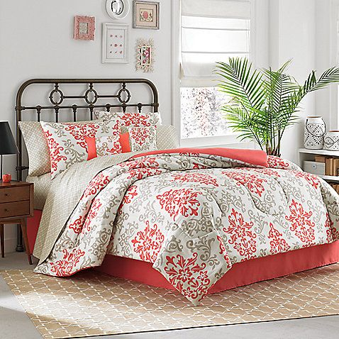 Carina 6 8 Piece Complete Comforter Set In Coral Comforter Sets Home Bedroom Design