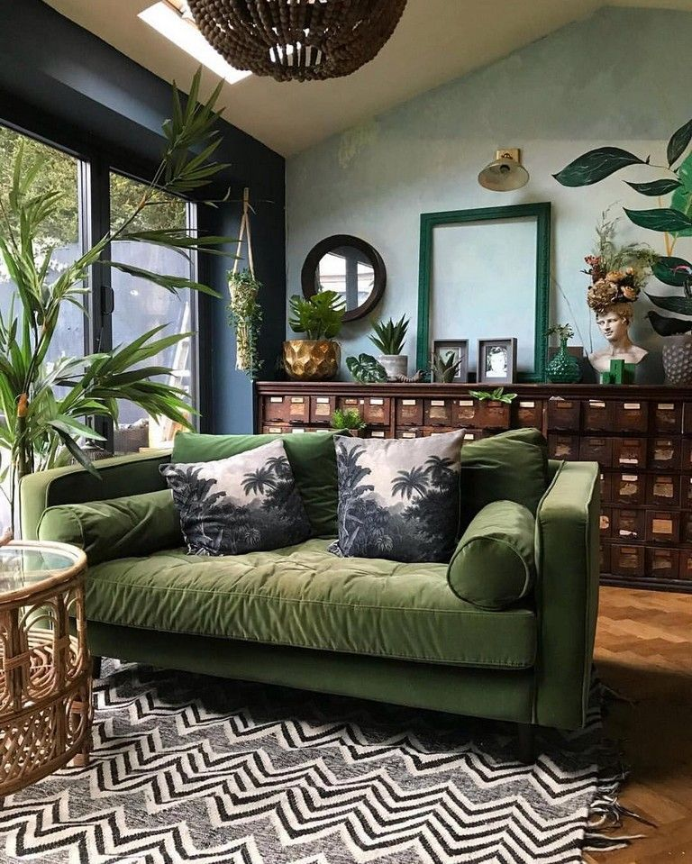 60 Beautiful Green Interior For Your Best Interior Design Vintage Eclectic Eclectic Living Room Modern Vintage Furniture