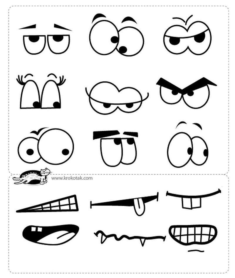 Yeux et bouches ou autre a decouper dessin pinterest - Dessin de bouche a imprimer ...