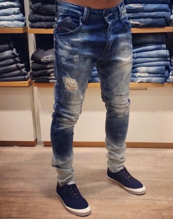 Jeans de Moda Pantalon Para Hombre Pantalones De Mezclilla Skinny Rasgados