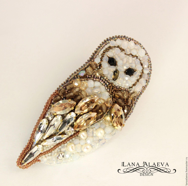 Купить Сова - сипуха - белый, сова, брошь, птица, Сваровски, подарок на 8 марта