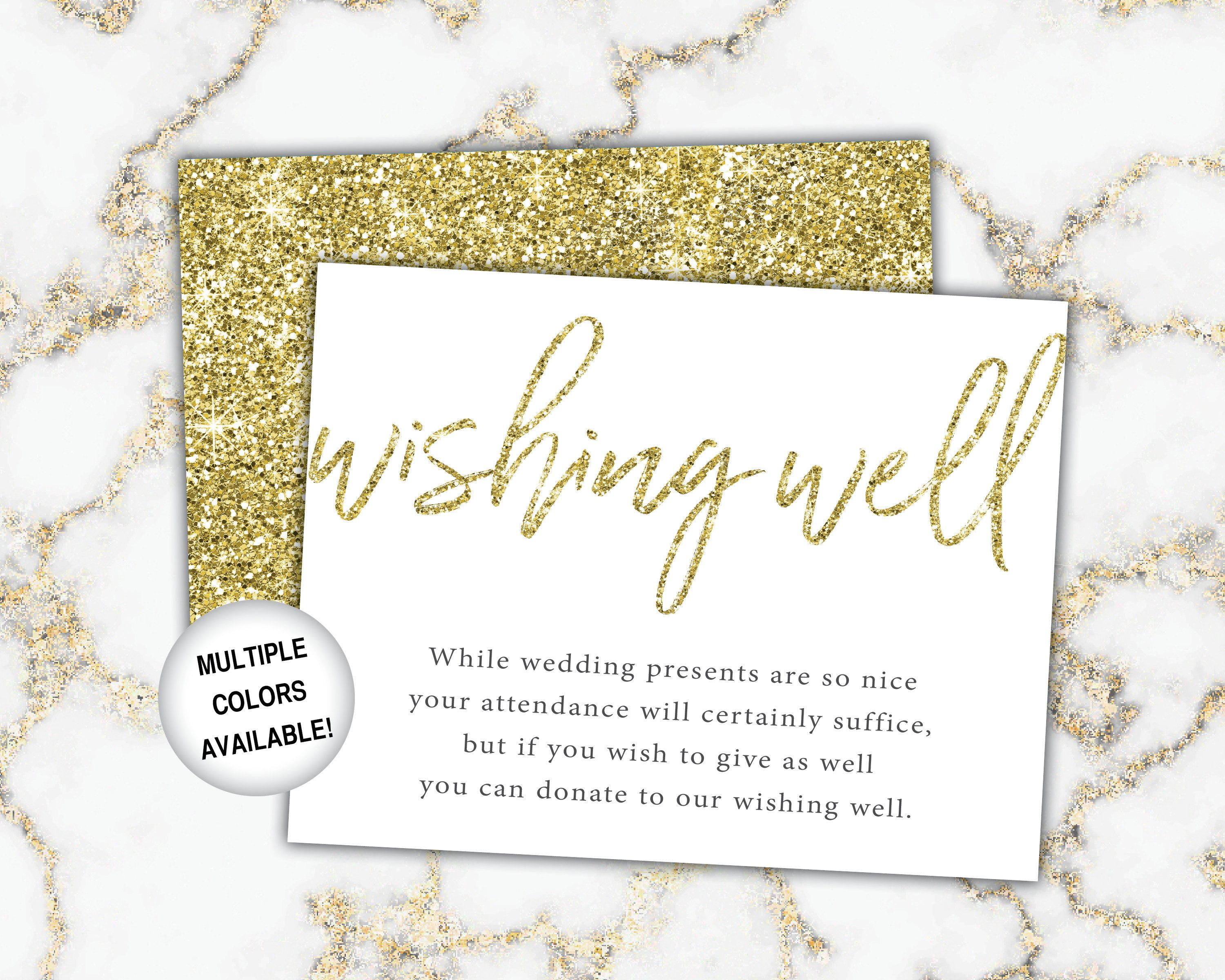 gold wishing well card for bridal shower  bridal shower