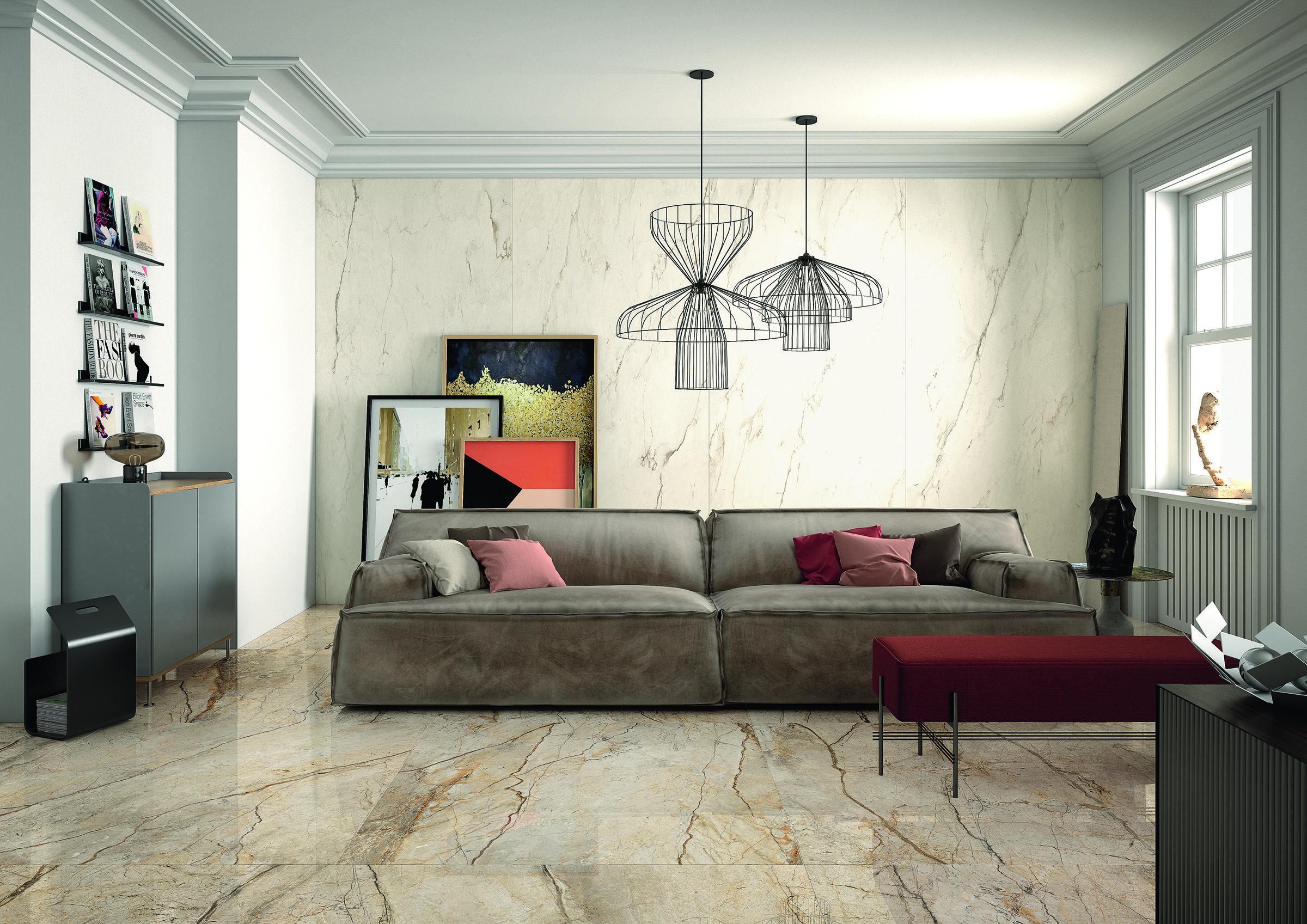 All Origine Imola concept surfaces tile series: aura- wall: cream, floor: san