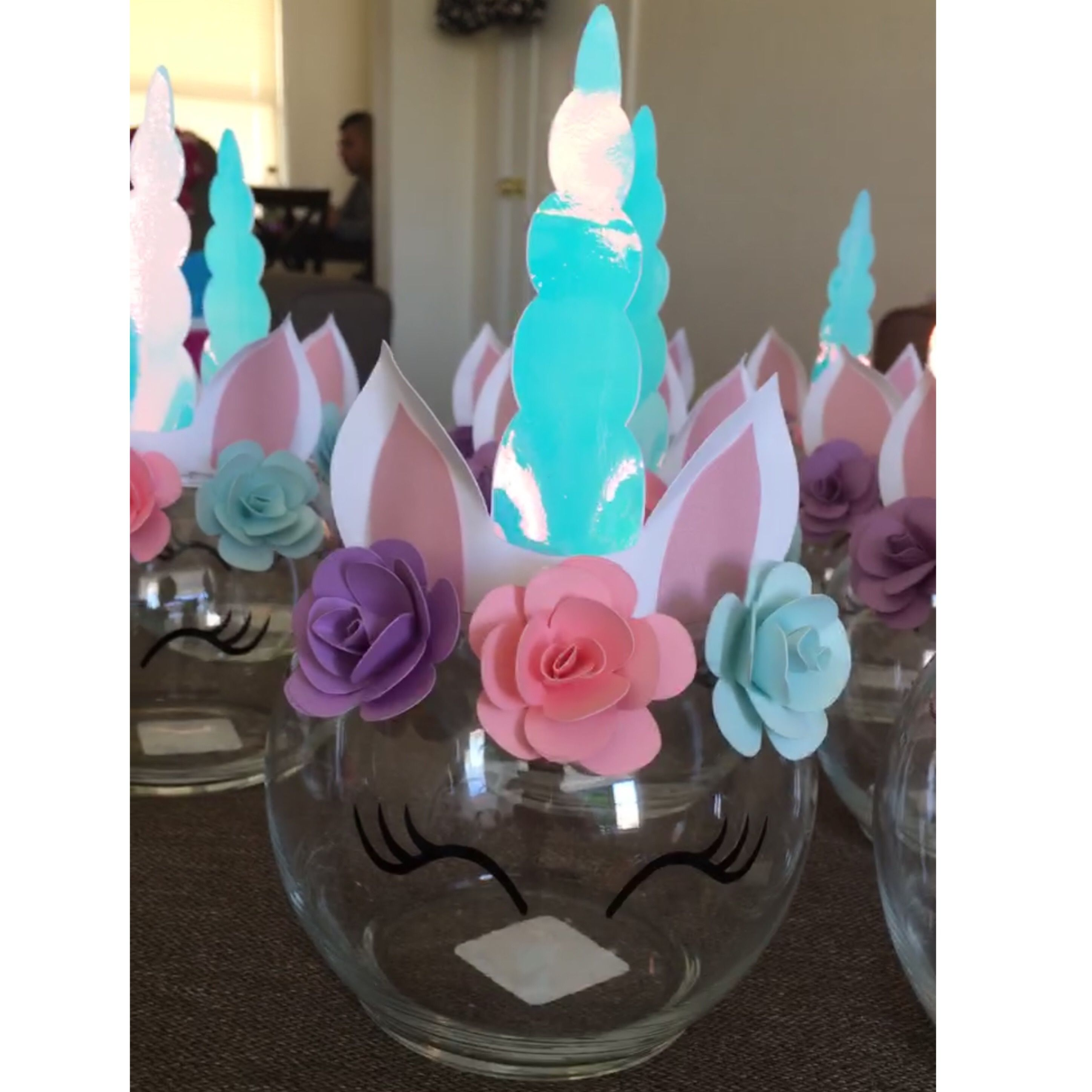 Made These Super Cute Unicorn Centerpiece For My Daughters 3rd Birthd Unicorn Birthday Party Decorations Unicorn Birthday Parties Unicorn Themed Birthday Party