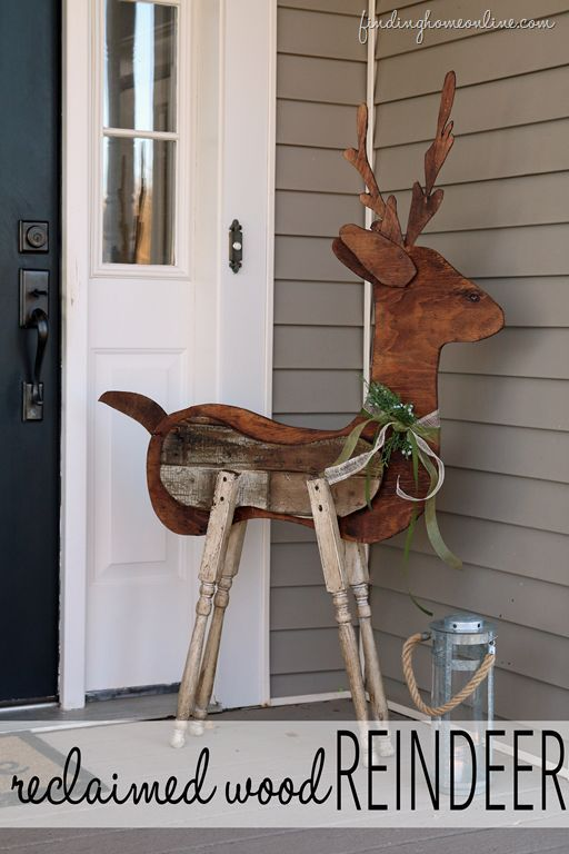 outdoor christmas decorating reclaimed wood reindeer by finding home farms - Outdoor Wooden Reindeer Christmas Decorations