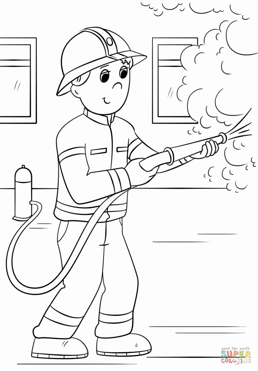 28 Fire Fighter Coloring Page in 2020 Coloring pages
