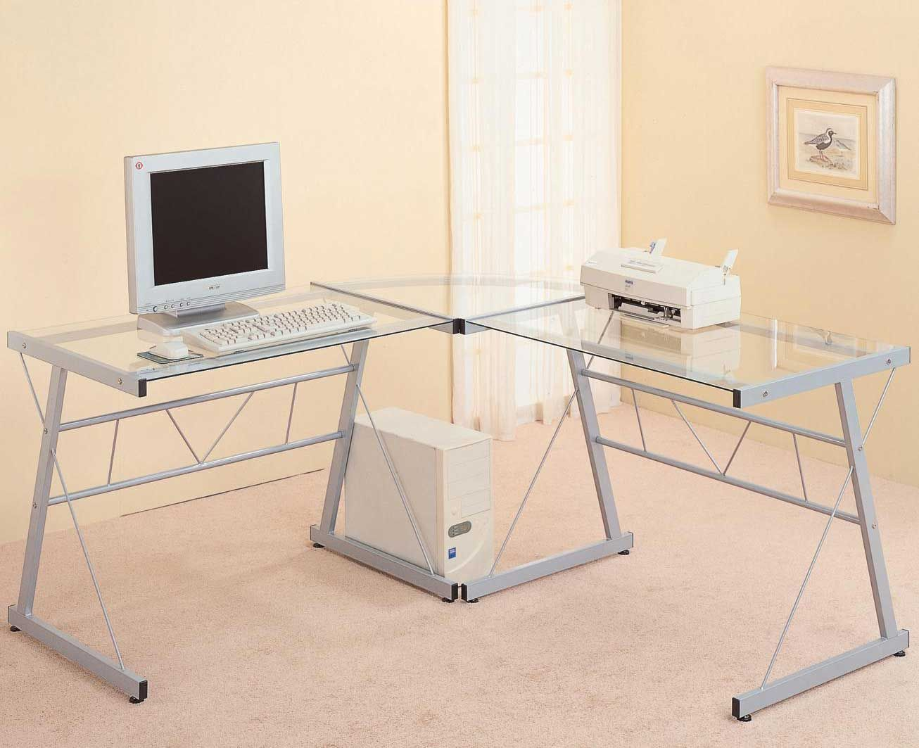 LShaped Glass Top Metal Computer Desk Desks for small