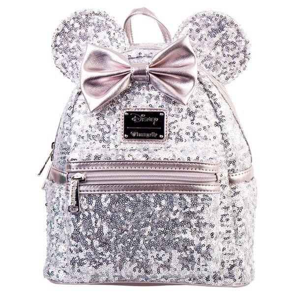 97085d521e4 Disney - Minnie Ears   Bow Sequin Silver Loungefly Mini Backpack ...