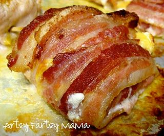 Bacon wrapped chicken with cream cheese, garlic salt, and cheddar cheese. OH MY GOSH sounds yummy!