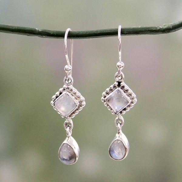 Novica Moonstone dangle earrings, Intuitive Moon - Artisan Jewelry Moonstone and Sterling Silver Earrings