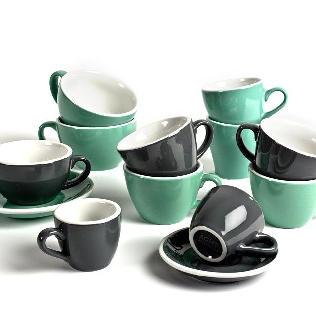 Acme and Co cups in grey and green | Homestead Coffee