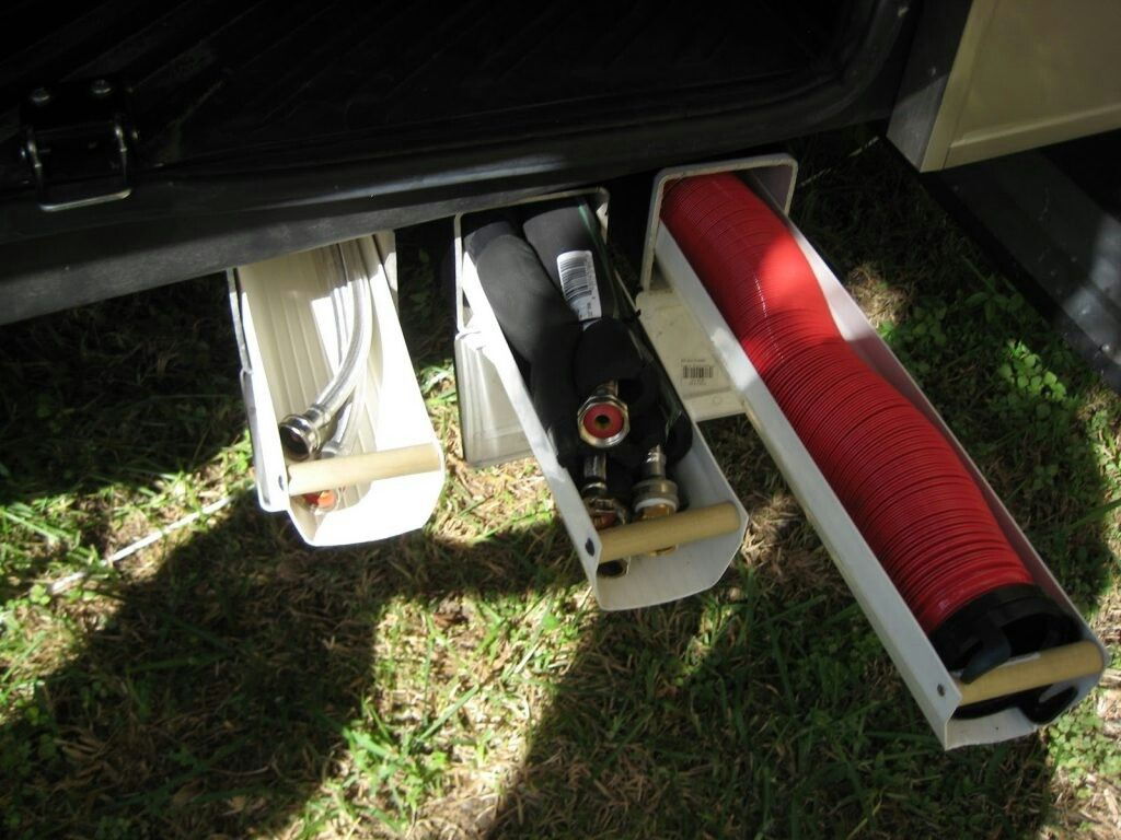 Try this homemade PVCunderRV storage solution. Travel