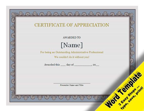 Certificate of Appreciation Editable Word Template Etsy - Word and