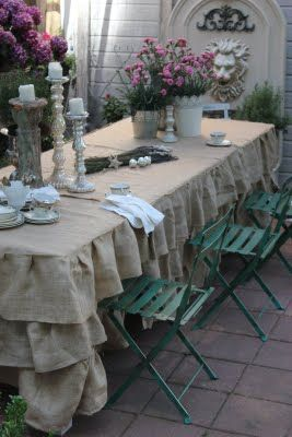 Wonderful Ruffled Burlap Tablecloth With KMart Chairs From French Country Cottage