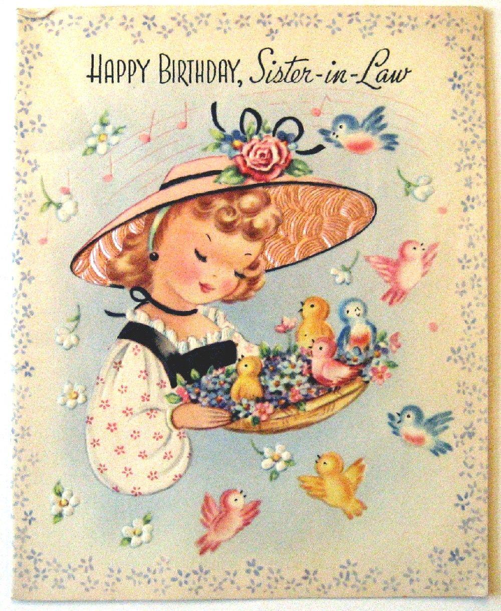 Vintage Birthday Girl With Her Little Birdies