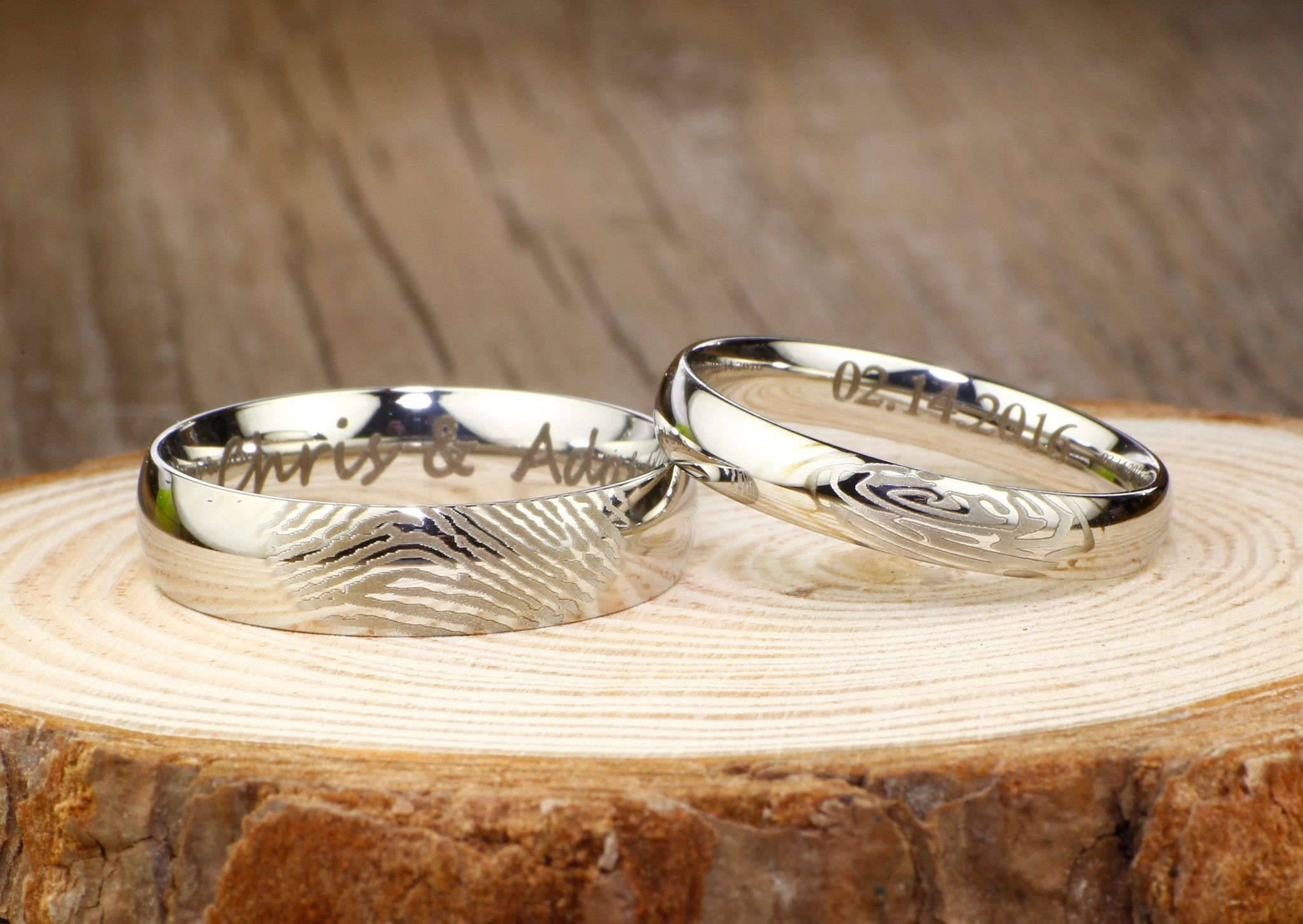 Your Actual Finger Print Rings His and Hers Matching White Gold