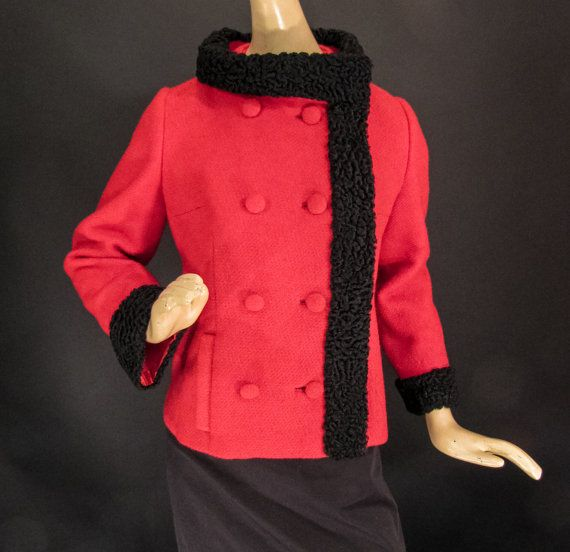 1960s Ronné Original Red Wool Coat with Black Fur Trim by cominguproses