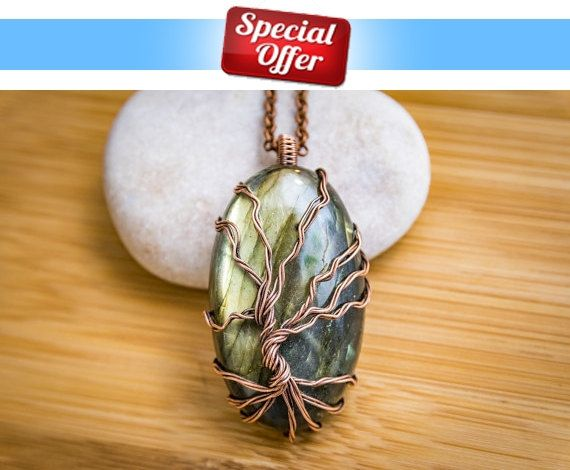 Labradorite necklace - Tree of life labradorite pendant on cooper chain. Handmade, One of its kind. Beautiful gemstone necklace. by LabradoriteDreams on Etsy