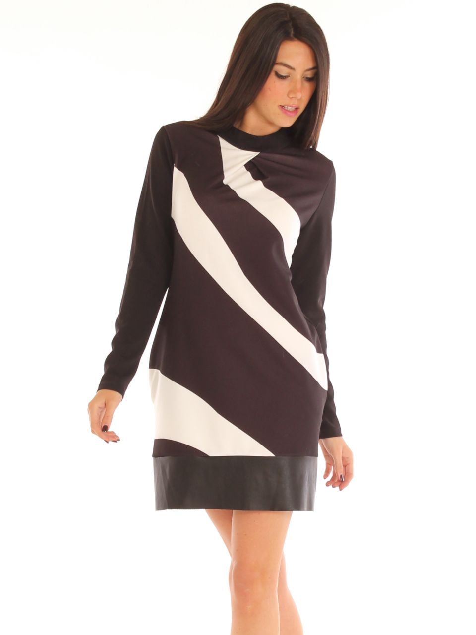 Black and white patterned stretch jersey elegant short evening dress