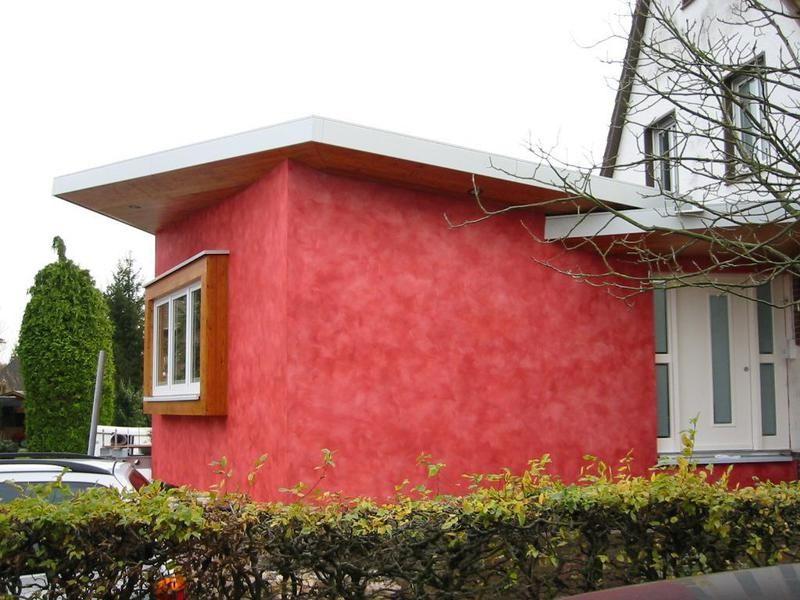 Fassadenanstrich In Rot Mit Spachteltechnik Von Den Malerwerkstatten