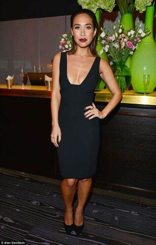 50c99aed594d Myleene Klass shakes up her style in a VERY low-cut dress at talent agency  party