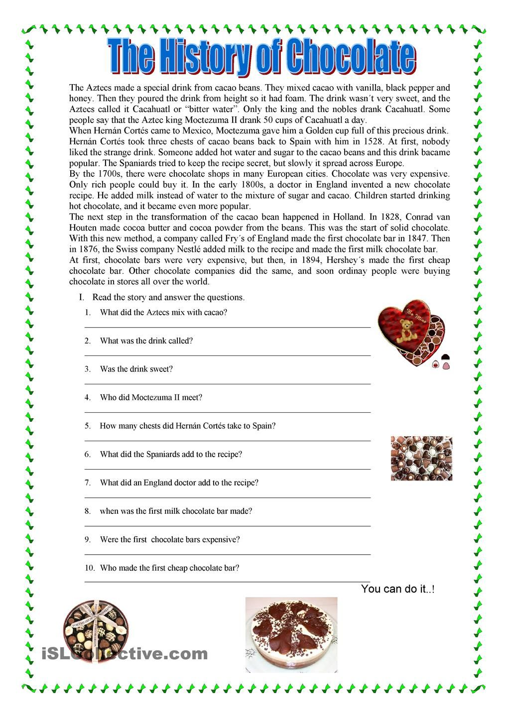 Esl worksheets for reading comprehension