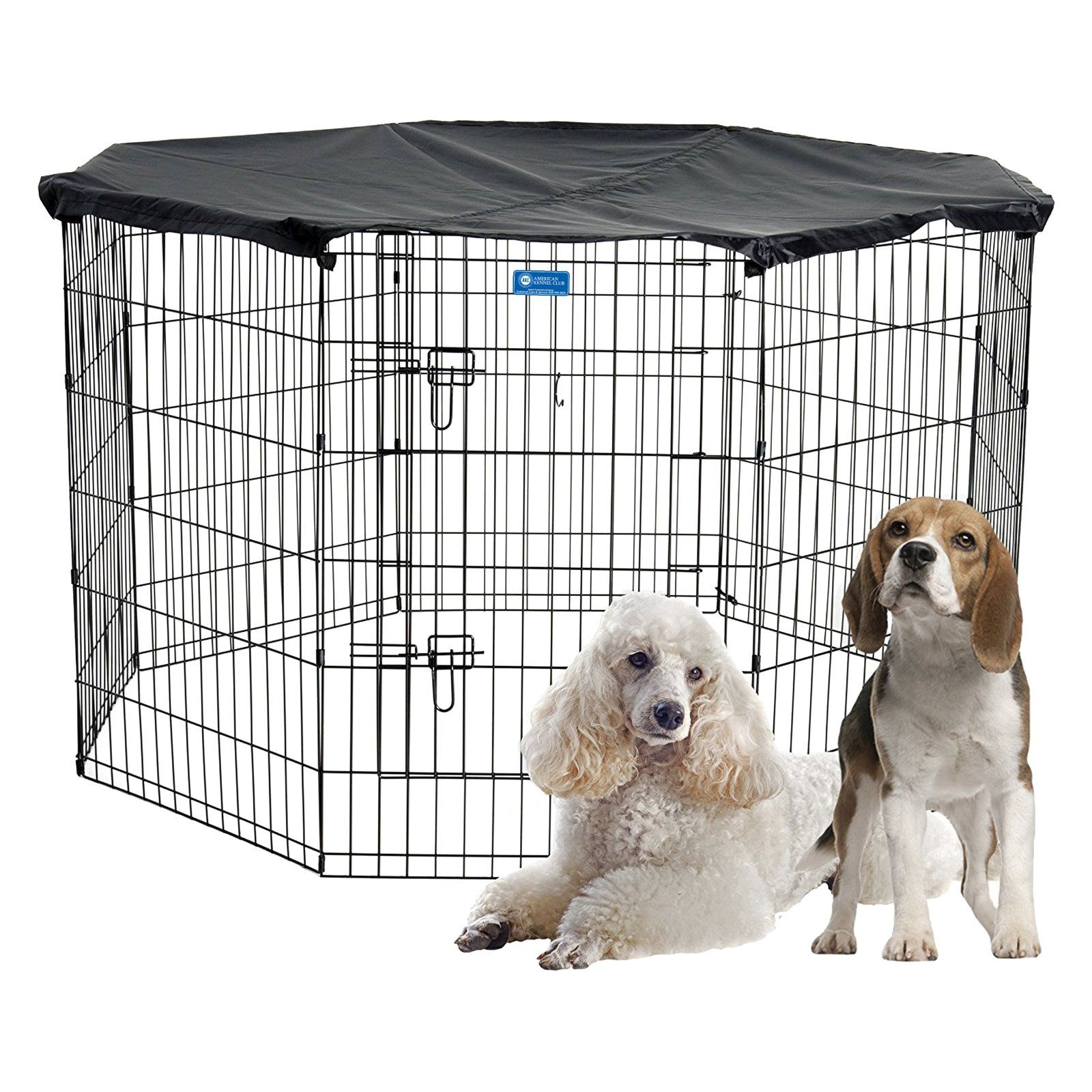 Akc Pet Exercise Play Pen With Cover For Indoor Or Outdoor Dog
