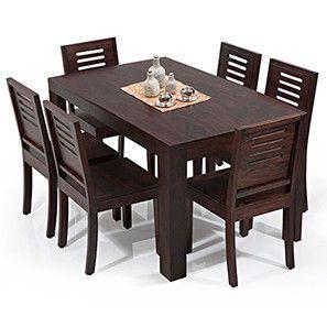 Arabia Capra 6 Seater Dining Table Set Chairmahogany Finish