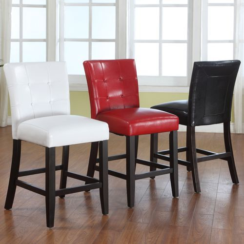 Costco  $190 For 2  In White  Barker Bonded Leather Counter Height Chairs 2
