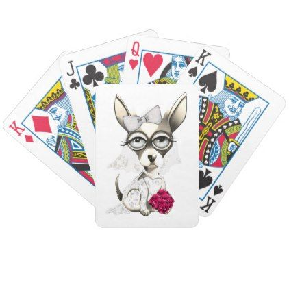#Bride Chihuahua Bicycle Playing Cards - #chihuahua #puppy #dog #dogs #pet #pets #cute