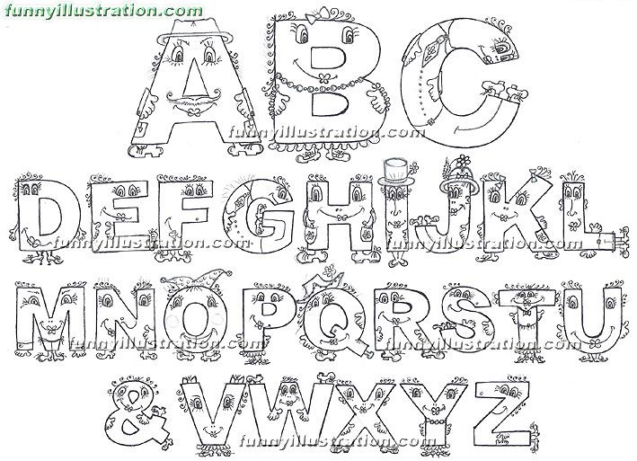 Pictorial Alphabets For Kids The English Alphabet Funny Pictural And Cool Images Of Cute Character Letters ABC Alphabetical Arrangement Pics