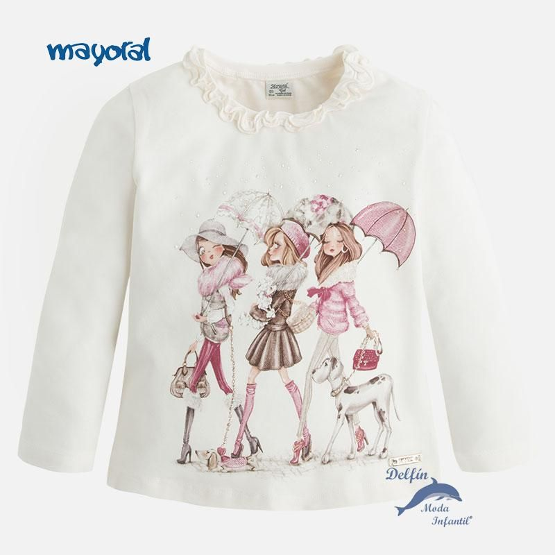 Camiseta para niña de MAYORAL manga larga tres niñas y paraguas lino