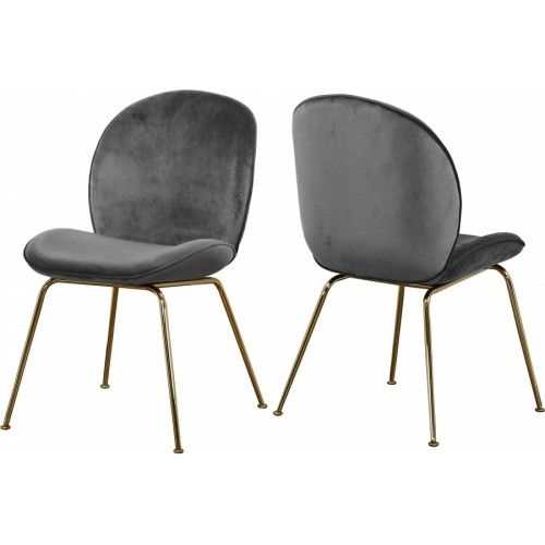 Grey Velvet Mid Century Accent Dining Chair Gold Legs Set