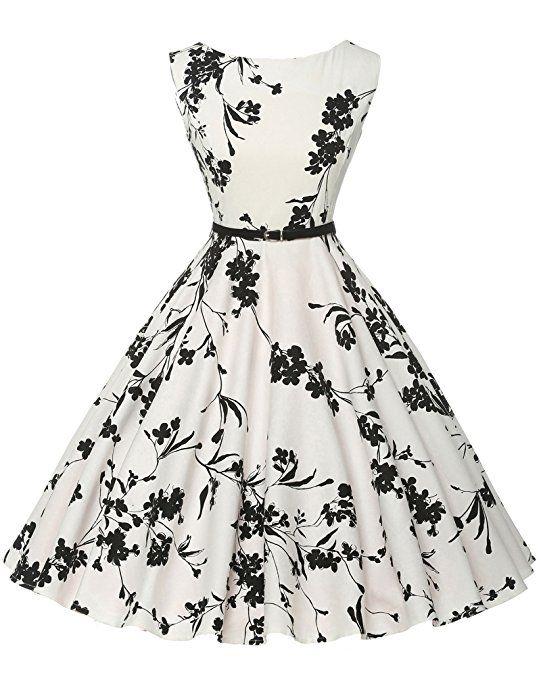 Damen vintage retro rockabilly kleid festliches kleid swing dress ...