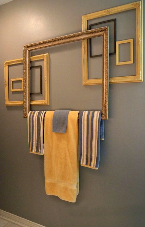 Repurpose Frame Saturday Here Take A Look At This With A Little Creativity On Bathroom Towel Decororange