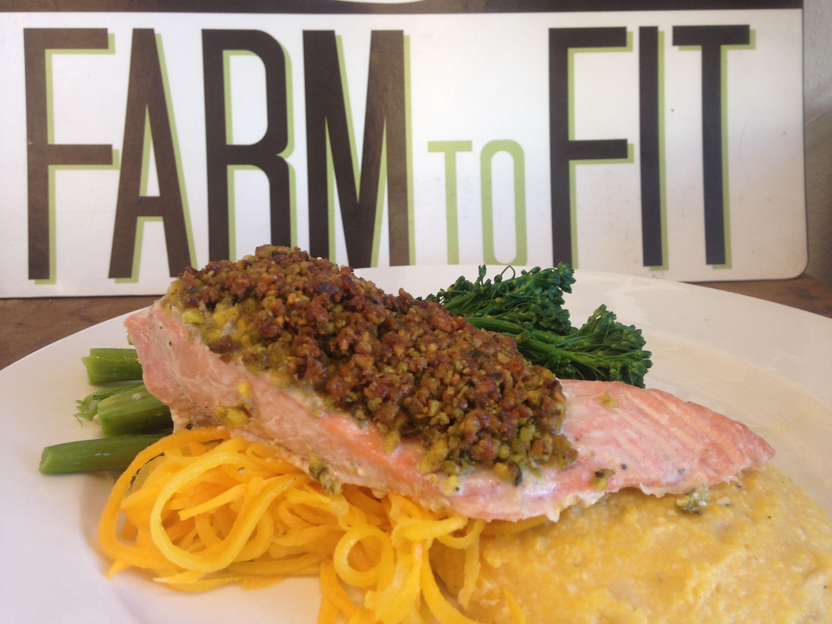Pistachio Crusted Salmon over Spaghetti Squash