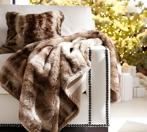 Faux Fur Throw Caramel Ombre Fur Blanket Bed Faux Fur