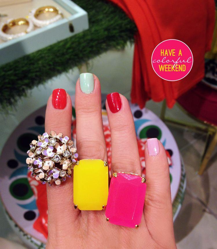 Yellow & Pink: Kate Spade Treasure Chest Rings