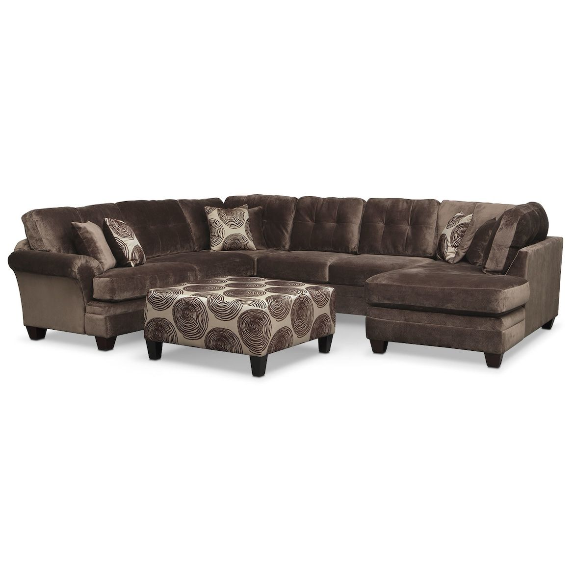 Cordelle 3 Piece Sectional With Right Facing Chaise And Cocktail Ottoman Set Value City Furniture And Mattr Cheap Living Room Furniture Cheap Living Room Sets