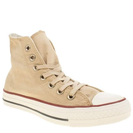 womens converse beige all star white wash hi trainers