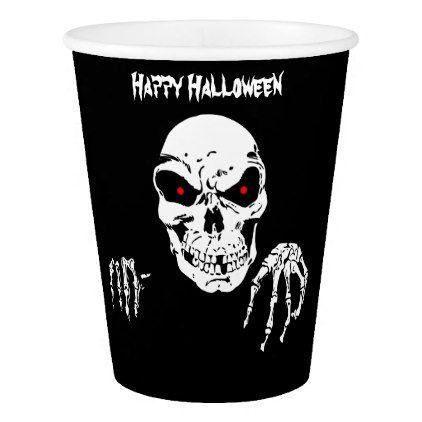 Halloween Skull Paper Cup 9 oz Paper Cup - halloween decor diy cyo