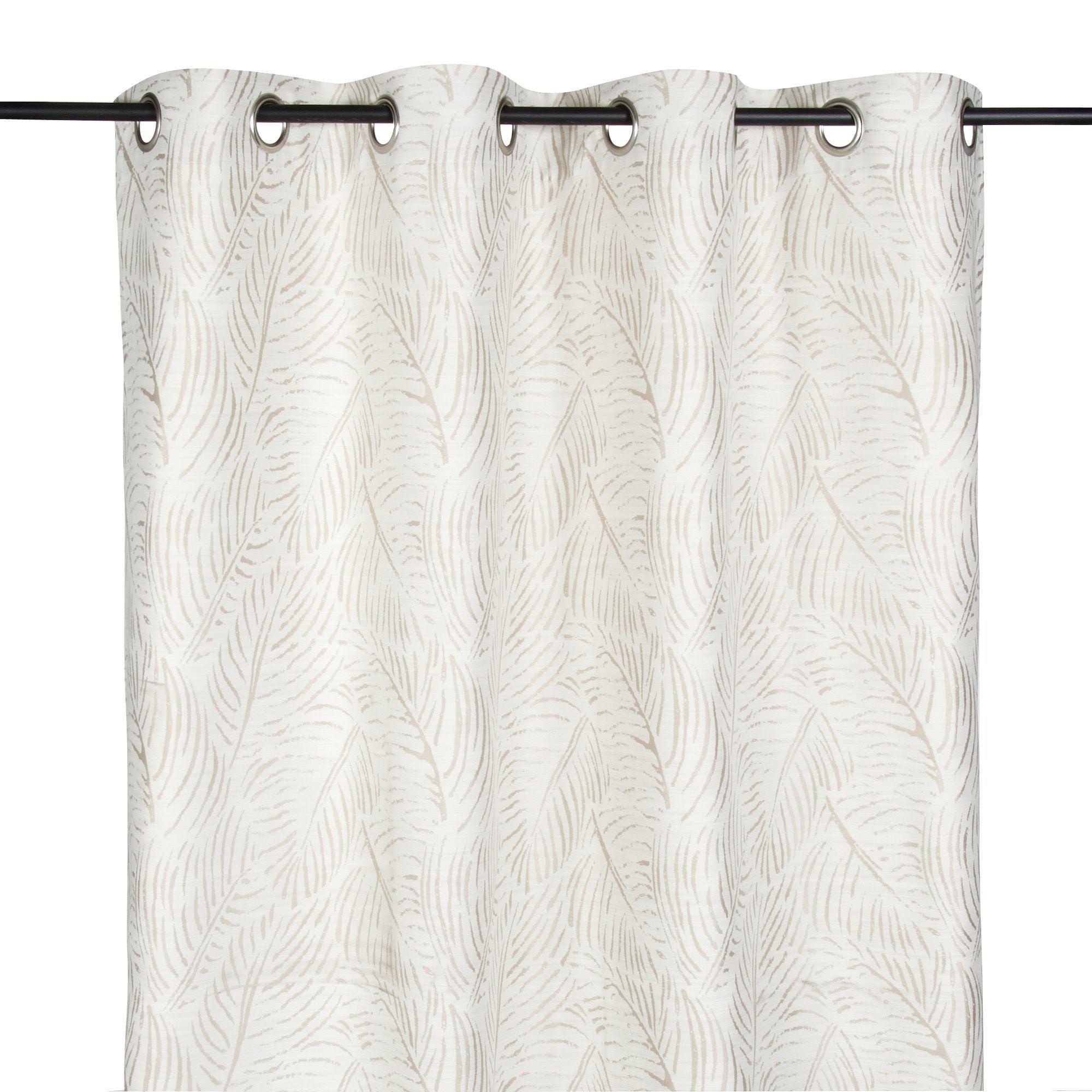 Rideau à œillets 140x250cm motifs feuilles Beige - Savana - Les ...