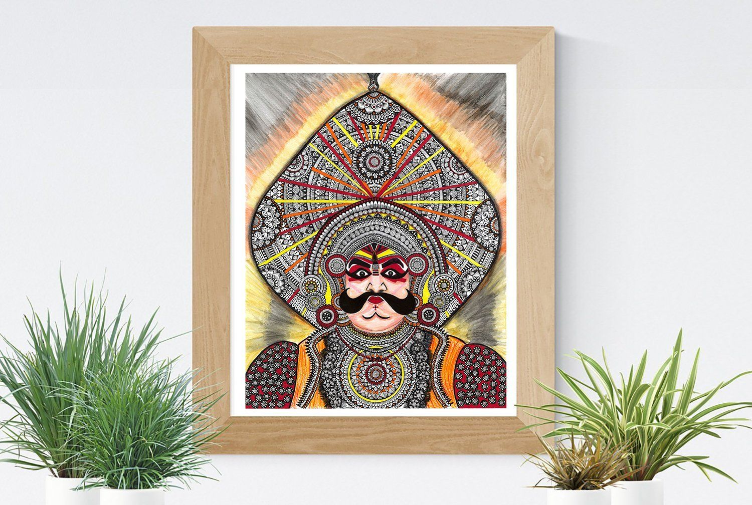Yakshagana dancer face art print etsy pen art face art karnataka dance