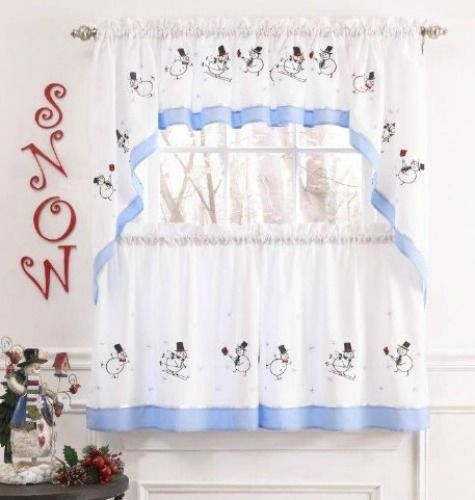 Beau Skiing Snowmen Curtains For Kitchen
