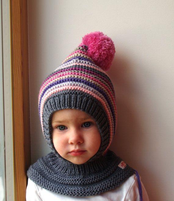 Merino Pixie Balaclava Baby/Kleinkind/Mädchen Hoodie mit Pom Pom, grau rosa mit Halswärmer. Größe 6-12m / 1-3-6-10 Jahre