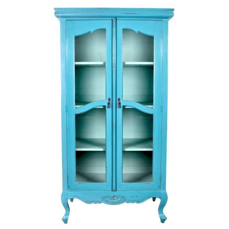 Crafted Home Elizabeth Antique Tosca Blue Distressed Display Cabinet With Glass  Doors (Elizabeth-CB609-TB) - Crafted Home Elizabeth Antique Tosca Blue Distressed Display Cabinet
